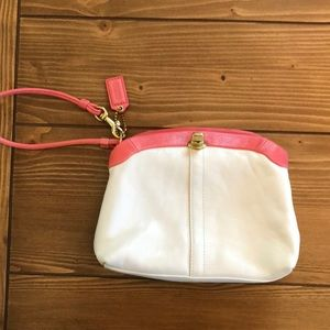 White and coral leather coach wristlet